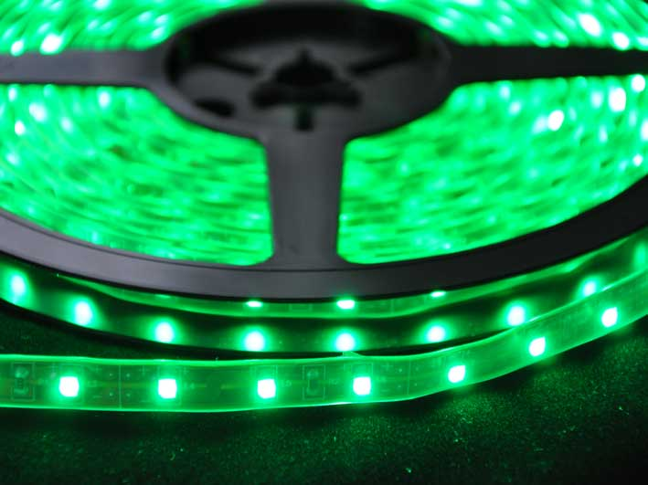LED strip 220Lm/m, 5m rulle, Grön