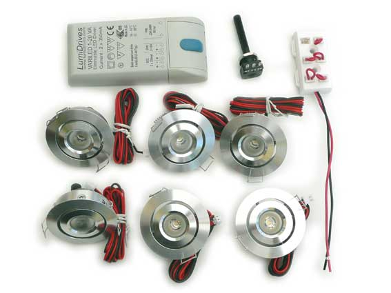 Paket 6st Downlight 3w 120Lm, 45°, dimbar converter
