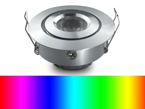 Downlight LED rund justerbar 45�, F�rgat ljus, RGB