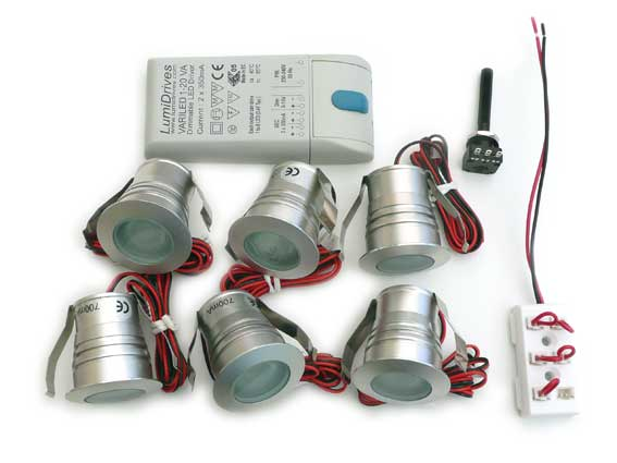Paket 6st Downlight IP65 3w 45°, dimbar converter