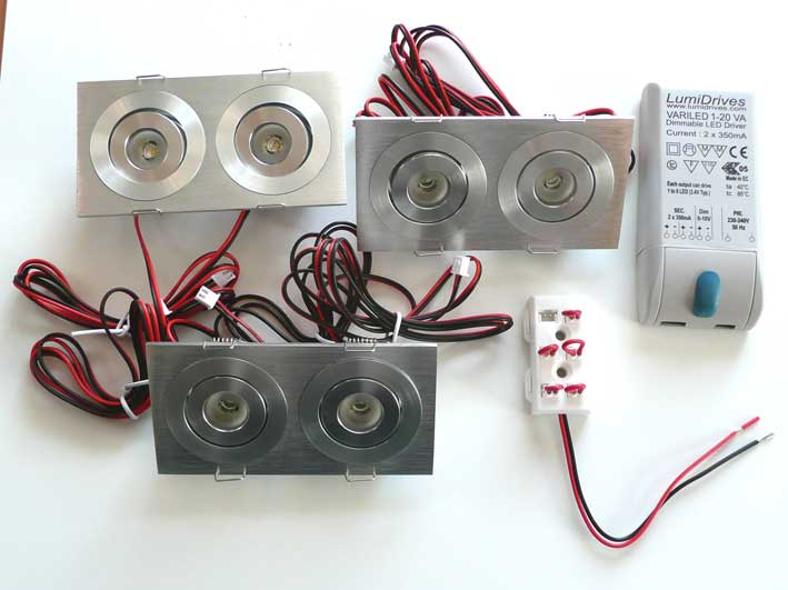 Paket 3st Downlight 2x3w 240Lm, 45°, dimbar converter
