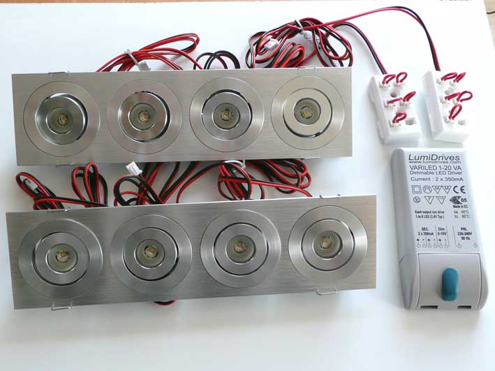 Paket 2st Downlight 4x3w 480Lm, 45°, dimbar converter