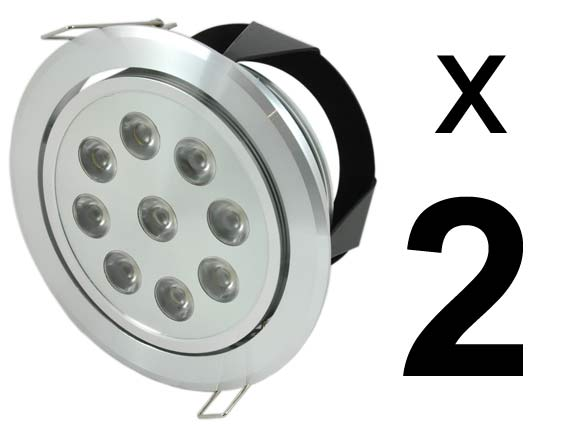 Paket 2st Downlight 9x1w 720Lm, 45°, dimbar converter